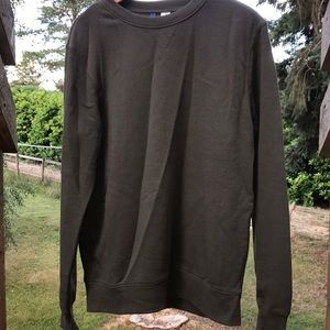 Army green crew neck  sweater